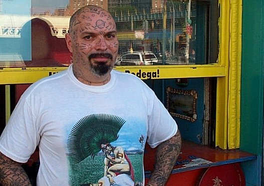 this is the man who tattooed outerspace on his face - he works at the coney island freak show